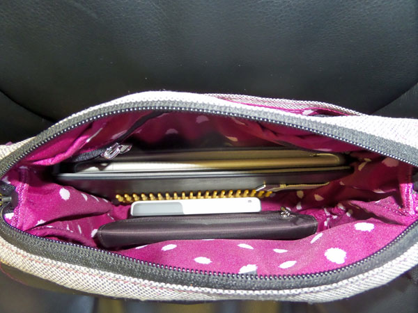 The inside - Nook Tablet, Comb, Big Skinny Wallet and iPhone.